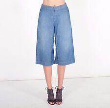 NWT RAG & BONE / JEAN Blue 100% Cotton Wide Gaucho Culotte Pants Size 27 M $155