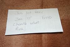 JOB LOT 3M 12 PINK CHENILLE VELVET UPHOLSTERY FABRIC SOFA CURTAIN CUSHION FV110