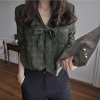 Summer Womens Elegent Long Sleeve Shirt Dot Tops Blouse Bow Army Green V Neck