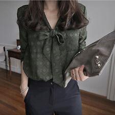 Summer Autumn Womens Blouse Long Sleeve V Neck Army Green Bow Coller V Neck