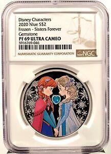 2020 Niue Disney Princess Frozen Anna & Elsa 1 oz Silver Coin - NGC PF 69 UCAM