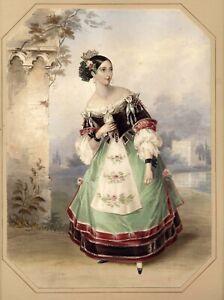 Emma Albertazzi as Zerlina in Don Giovanni by Fanny Corbaux Hullmandel 1837 RARE