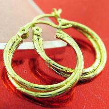 FS758 GENUINE REAL 18K YELLOW G/F GOLD CLASSIC ITALIAN TWIST STUD HOOP EARRINGS
