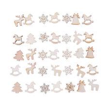 60Pcs Natural Wood Christmas Ornament Xmas Tree Decorat Reindeer Snowflakes
