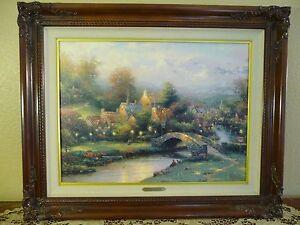 Thomas Kinkade Lamplight Village S/N Canvas 1202/4950 Brandy Frame NALED R 1995