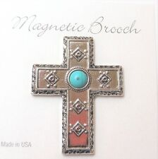 Magnetic Brooch Clip Clasp Pin Silver Southwest Cross  Accessory Shawls