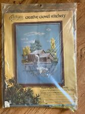 "New Paragon Vintage Crewel Stitch ""Mabry Grist Mill"" Picture"