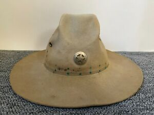 Vintage WESTERN RESISTOL MEN'S HAT w CHARACTER & STAR PIN - About Size 7 1/4