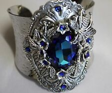 Artisan made with Bermuda blue Swarovski crystal  chunky cuff  Edwardian style
