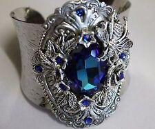Artisan made with Bermuda blue Swarovski crystal  chunky cuff  Edwardian style