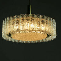 "Large Doria Crystal Chandelier ""17.7 w. 32+1 Glass Tubes Luxury Brass Great 60s"