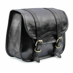 Motorcycle Side Pouch Black Leather Pouch Saddlebags Saddle Panniers 2 Bags New