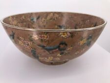 Oriental Accent Decorative Bowl Brown Birds Bloom garden Gold Floral Pattern 10'