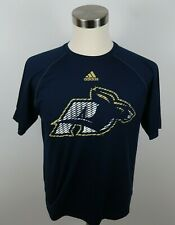 Akron Zips Mens Polyester Clima Lite SS Crew Neck Navy Blue T Shirt Adidas Small