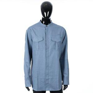BRIONI 790$ Mandarin Collar Shirt In Blue Cotton