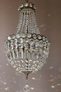 Purse Vintage Crystal Chandelier, Antique Lighting Empire Lamp Hollywood Light
