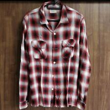REAL McCOY'S JOE Line Shadow Plaid Shirt Tops Men's M 100% Rayon Red White Black