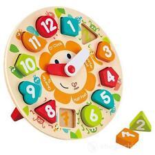 Orologio in Legno Puzzle con Lancette Forme Numeri Imparare Ora Ore Formine