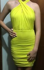Kookai oasis yellow cross front halter Dress Sz 1 Free Post (E91)