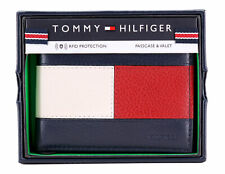 Tommy Hilfiger Men's Premium Leather Double Billfold Passcase Rfid Wallet Navy