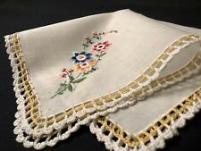 #5969🌟Vintage Country Prairie Floral Embroidery Bouq& Crochet Lace Handkerchief