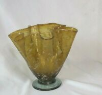 "Vintage Art Glass Hand Blown 6"" Bubble Glass Vase Amber Art Ribbon Speckle"