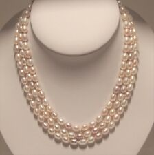 Hand strung 3 strands 7mm Multi-color fresh water cultured Pearl necklace.