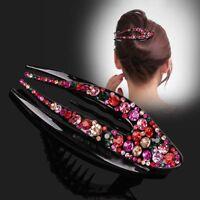 Women Crystal Barrette Hair Clips Clamp Hairpin Wedding Hair Accessories