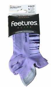 FEETURES Elite LARGE Women's Socks Ultra Light No Show No Blisters Purple