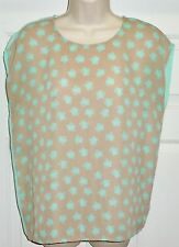Hello Kitty Forever 21 Collection Exclusive Mint Green Tan Khaki Blouse Top Sz S
