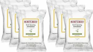 Burt's Bees Facial Wipes Towelettes Sensitive Cleansing Cotton Extract 30 Count