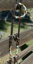 "Circle Y 5/8"" Infinity Wrap Beaded One Ear Headstall - Light Blue / Brown / Gold"