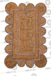 Scallop Lavender Jute Hand Made Rug, Decor Rug Customize in Any Size.