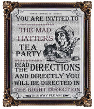 ALICE IN WONDERLAND MAD HATTERS TEA PARTY ART PRINT ON AN OLD ANTIQUE BOOK PAGE