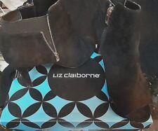 BLACK SUEDE LIZ CLAIBORNE  OPEN TOE HIGH HEEL ZIP BOOTIES SIZE 91/2 M
