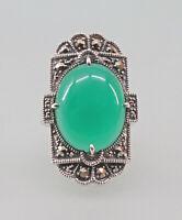 9927750 925er Silber Grünachat-Ring mit Markasiten Art deco Gr.56