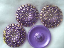 REDUCED  CZECH GLASS BUTTONS (4 pcs) 27mm  HAND PAINTED WITH  24K GOLD   L 045