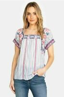 Johnny Was Kiernan Crop Peasant Embroidered Stripe Multi Blouse Sz M ~ NWT