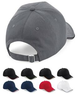 Beechfield Authentic Piped 5 Panel Cap Contrast Two Tone Baseball Hat