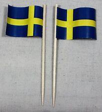 Party-Picker Schweden 50 Stk. Profiqualität Dekopicker Papierfähnchen Flagge