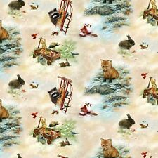 Fat trimestre old World Christmas jouets animaux forestiers 100% coton tissu de matelassage