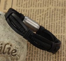 Mens Real Genuine Leather Bracelet for Guys Brushed Stainless Steel Magnetic B3L