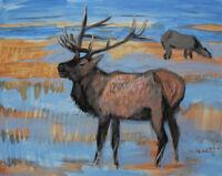 Deer 2, Animal, Wild Life, Original Acrylic Painting, Signed, Art Deco