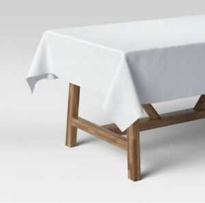 Threshold Oblong Tablecloth 60 x 84 - white, cotton blend, solid