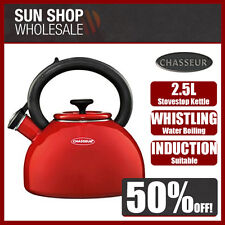 100% Genuine! CHASSEUR 2.5L Enamelled Whistling Kettle Red! RRP $129.00!
