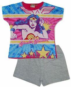 Girls Wonder Woman Character Shorts Pyjamas Kids Nightwear Pink PJs Blue
