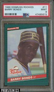 1986 Donruss Rookies #11 Barry Bonds Pittsburgh Pirates RC PSA 9 MINT