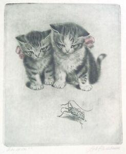 """Meta Pluckebaum """"Was Ist Das"""" Etching *2 Kitten* Bug* Pink Ribbons*FREE SHIPPING"""