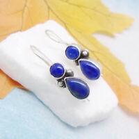 Lapislazuli rund Tropfen blau Design Ohrringe Ohrhänger 925 Sterling Silber neu