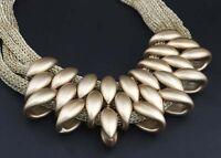 Crystal Chunky Statement Bib Pendant Chain Choker Necklace Golden Jewelry